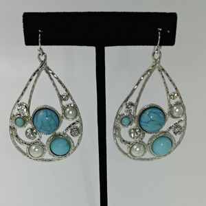 NWT Silvertone and Turquoise Glam Dangle Earrings